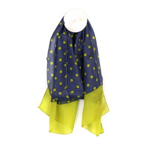 Blue silk scarf with lime green spots