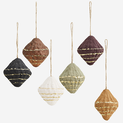 Hanging cotton paper cone decorations