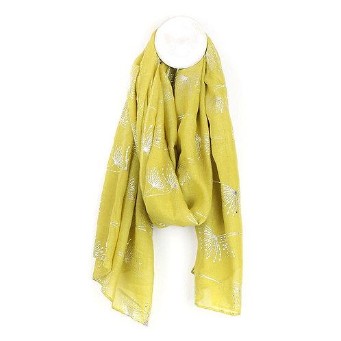 Mustard Scarf With Metallic Dandelion Print