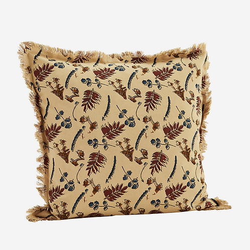 Cream multi leaf printed cushion cover with fringes