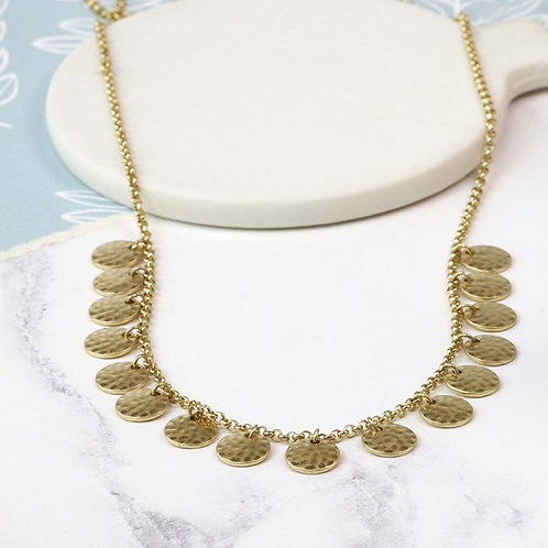 Gold plated hammered multi disc necklace in a worn finish