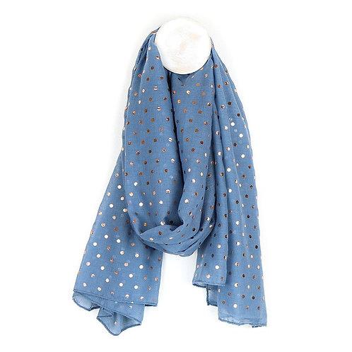 Denimblue scarf with rose gold polka dot print