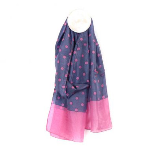 Blue silk scarf with pink spots