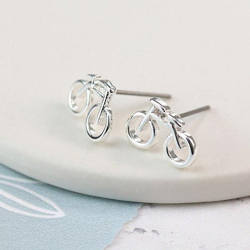 Silver plated bicycle stud earrings