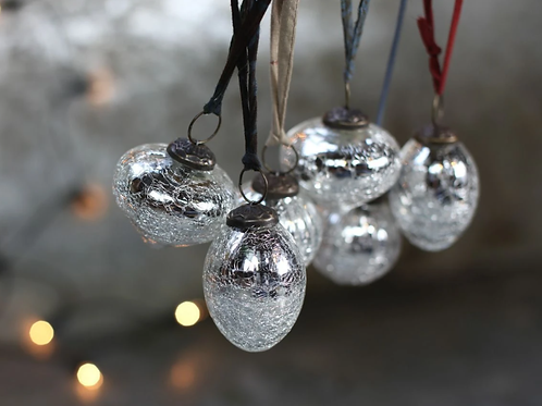 SNOW DROP BAUBLES - SILVER CRACKLE - x 4
