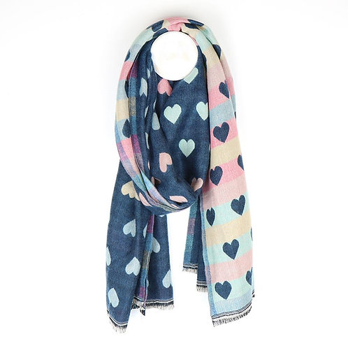 Reversible teal and pastel jacquard heart scarf