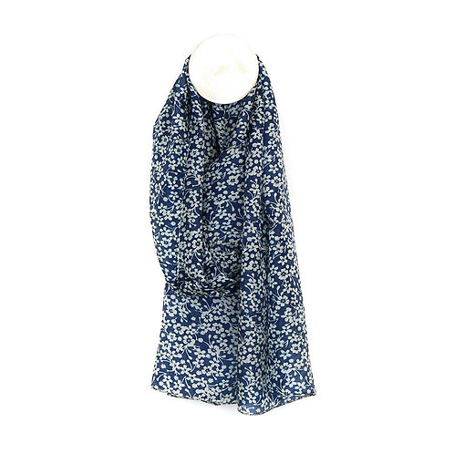 Silk scarf with blue floral print