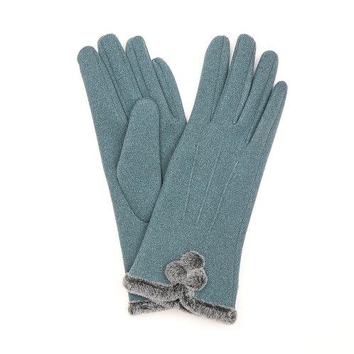Teal gloves with pom-poms