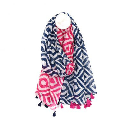 Blue and pink cotton diamond print scarf