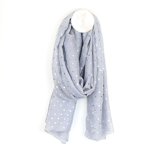 Pale grey scarf with silver polka dot print
