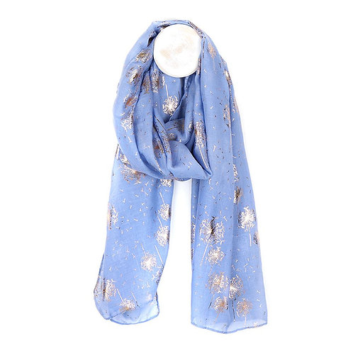 Blue scarf with rose gold scatter dandelion print