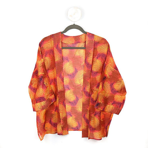 Coral mix leaf print kimono