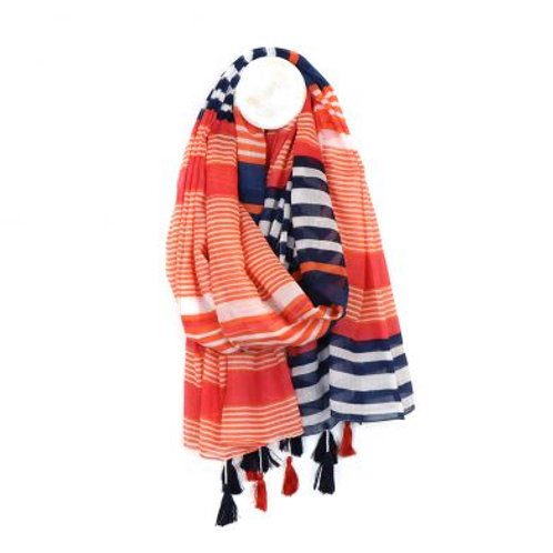 Cotton stripe scarf in orange and navy