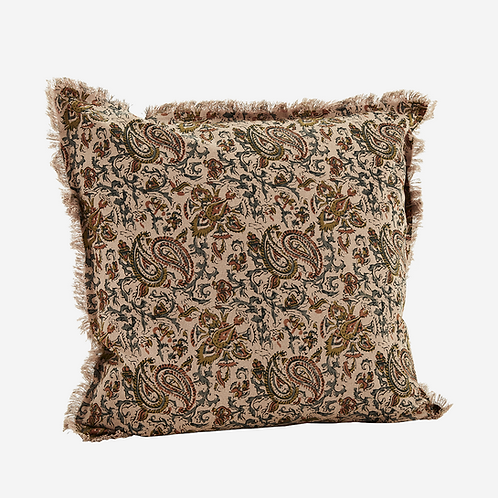 Dusty pink multi printed cushion with fringes