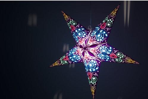 Damask Cobalt Blue Paper Star Light