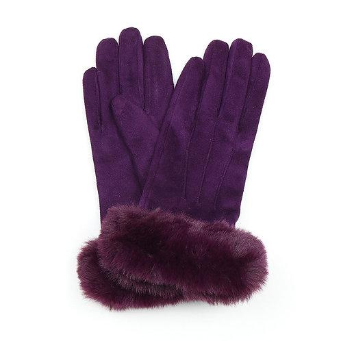 Plum faux suede gloves with faux fur trim