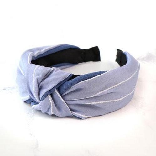 Blue and white striped headband
