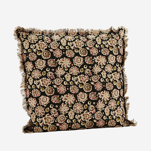 Black multi printed cushion with fringes