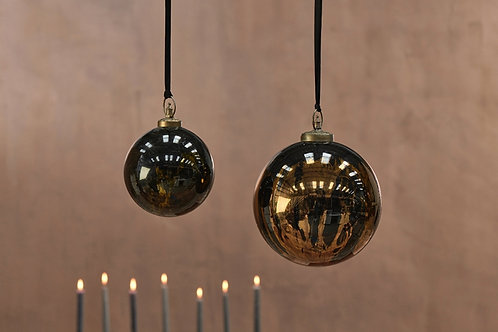 Danoa Giant Bauble Round - Aged Amber  & Black