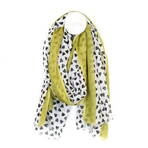 White cotton scarf with black heart print