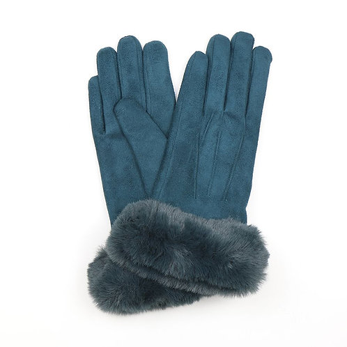 Teal faux suede gloves with faux fur trim