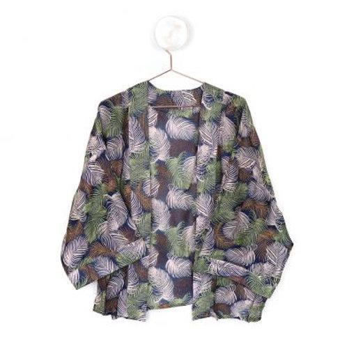 Navy mixed leaf print kimono