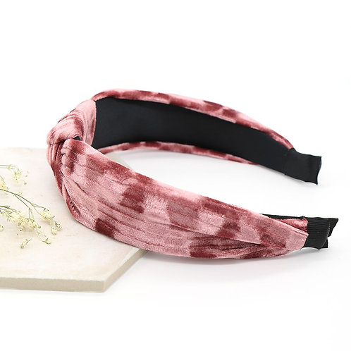 Crushed Pink Velvet Hairband with Knot