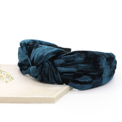 Dark Teal Crushed Velvet Hairband with Knot