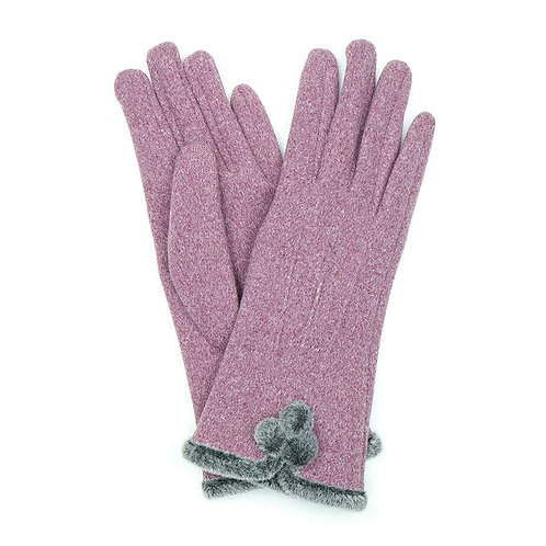 Mauve gloves with pom-poms