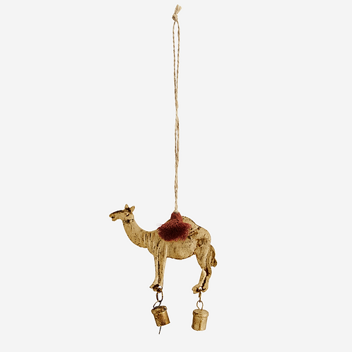 Hanging camel decoration with bells