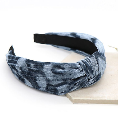 Washed Greycrushed Velvet Hairband with Knot