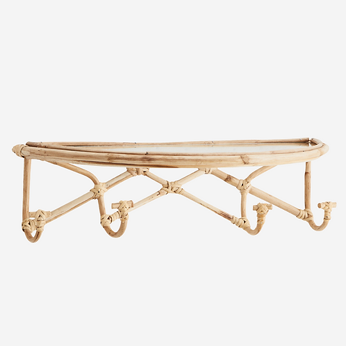 Bamboo Shelf with Hooks