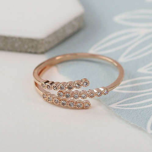 Rose gold plated triple strand crystal inset ring