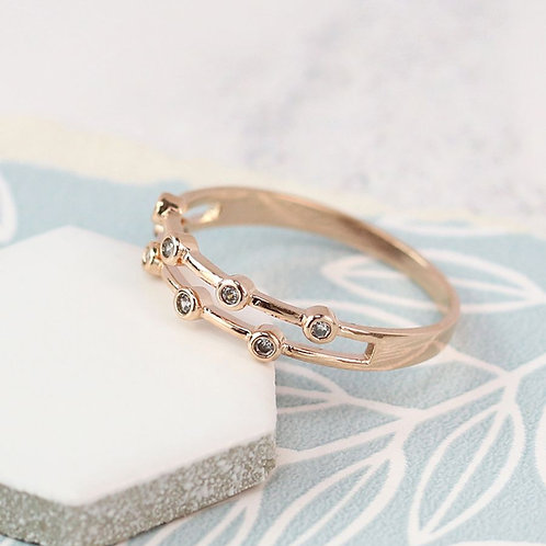 Rose gold double layer ring with crystals - S/M