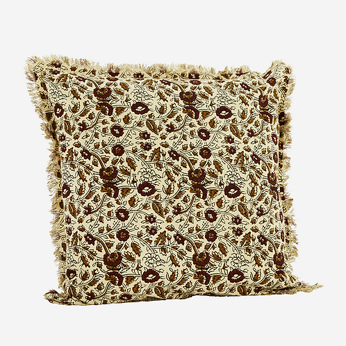 Cream multi printed cushion