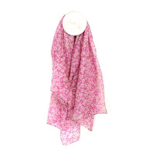 Silk scarf with pink floral print