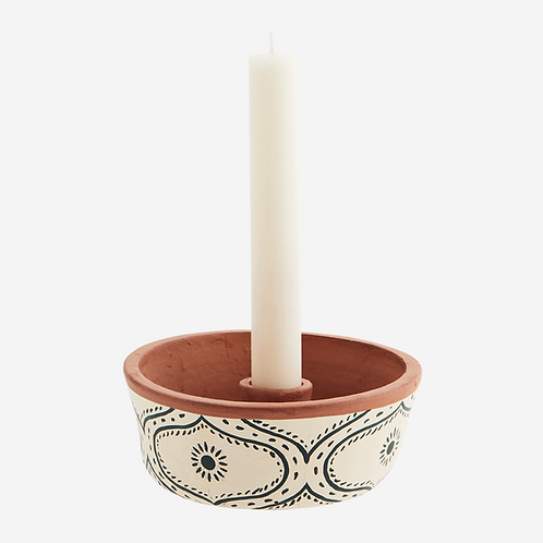 Hand-painted clay candle holder
