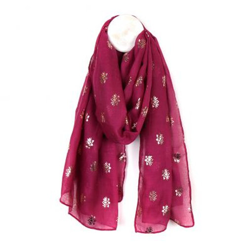 Magenta scarf with rose gold lotus print