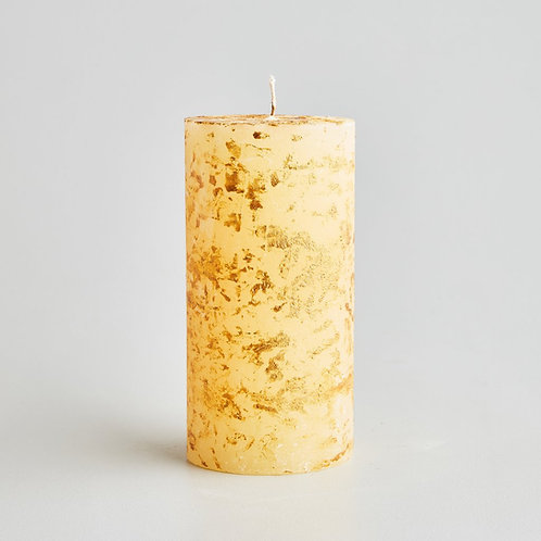Inspiritus Scented Gold Marbled Pillar Candle