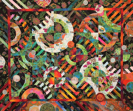"""Quilt titled """"Wild Side"""" by Louisa Smith using her strips 'n curves technique"""