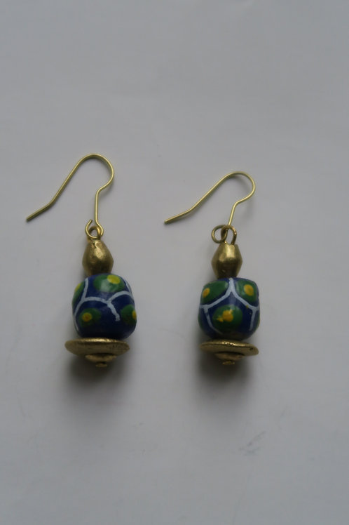 Colourful small glass and brass earrings