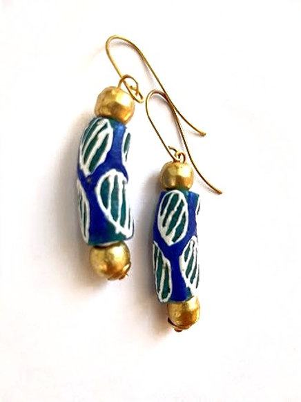 Blue and green Krobo beads with round brass details