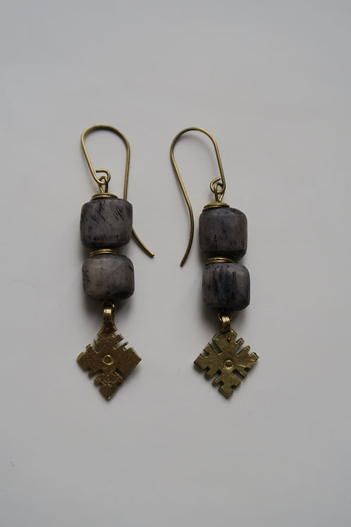 Lavender grey and brass earrings