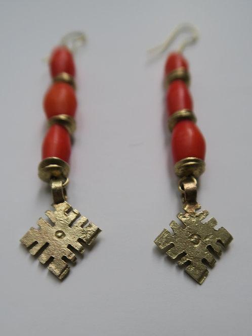 Orange coptic cross earrings