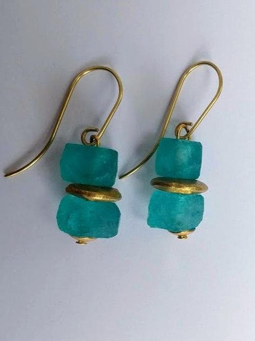 Aquamarine glass and chunky brass disc earrings