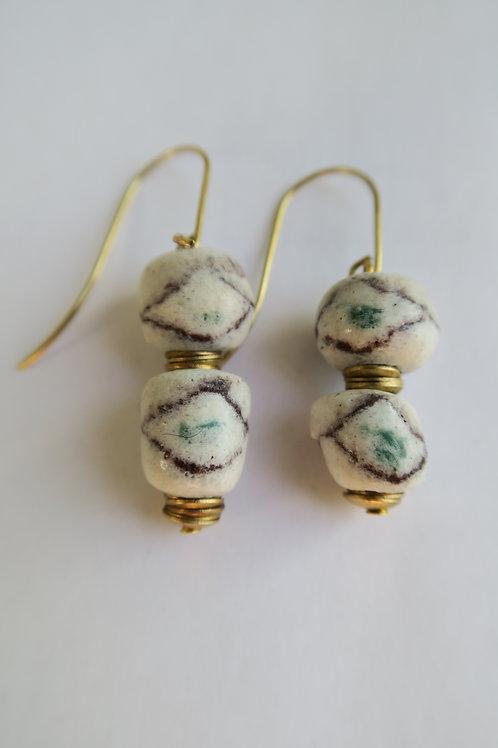 Faded light glass bead earrings