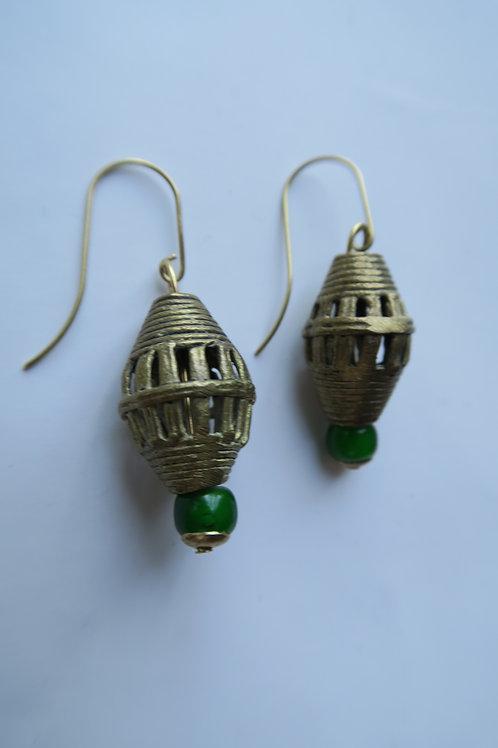 Bicone filigree brass earrings