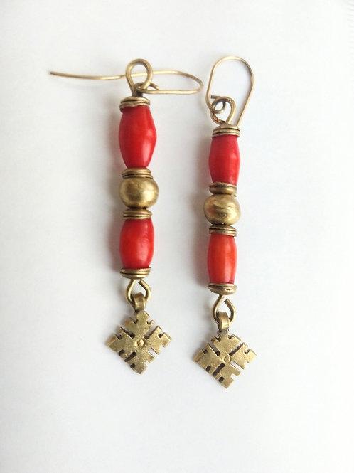 Long Coral brass earrings