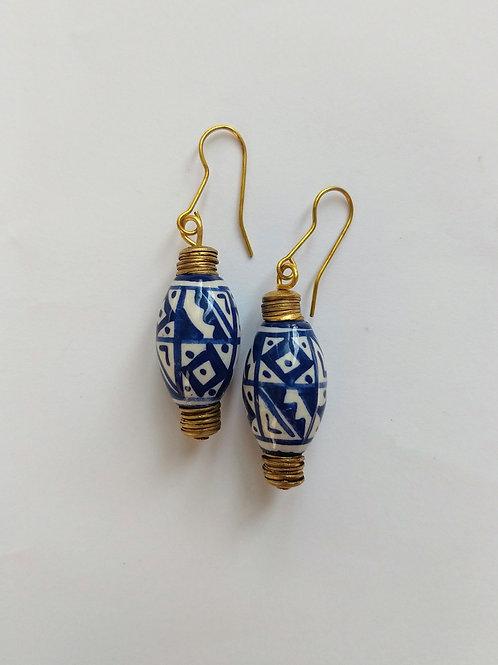 Peruvian ceramic beads blue with brass details