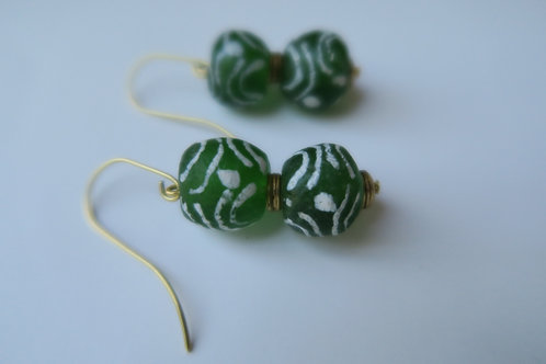 Green and white glass earrings